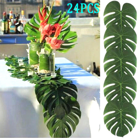 24PCS Tropical Hawaiian Green Leaves Luau Moana Party Table Decorations Bulk New