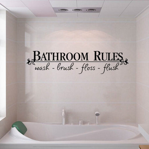BATHROOM RULES Quote Wall Decals Bath Room Stickers Art Home DIY Decor Vinyl US