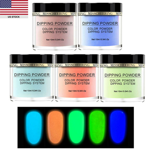 5 Colors Night Fluorescence Glow Nails Dip Powder Set Party Carnival Neon Colors