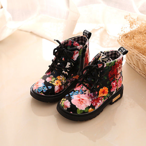 US Kids Girls Toddler Flower Mid-Calf Martin Shoes Anti-Slip Lace Up Ankle Boots