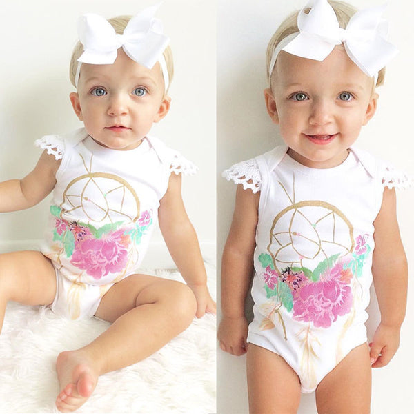 Cotton Newborn Baby Girl Infant Romper Jumpsuit Bodysuit Clothes Sunsuit Outfits