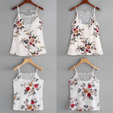 Women LaceVest Top Sleeveless Casual Tank Blouse Summer PrintFlower Tops T-Shirt