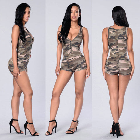 Sexy Women Sleeveless Blouse Bodysuit Leotard Camouflage Romper Camo Jumpsuit