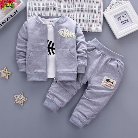 3PCS Kids Toddler Baby Boy Clothes Outfits Fish Tops T-shirt+Long Pants+Zip Coat