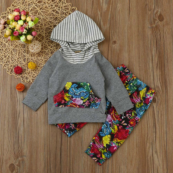 Newborn Infant Baby Girl Floral Hoodie Tops+Long Pants 2PCS Outfits Clothes Set