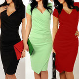 Women Short Sleeve Bandage Evening Party Shirt Dress Stretchy Asymmetrical Dress