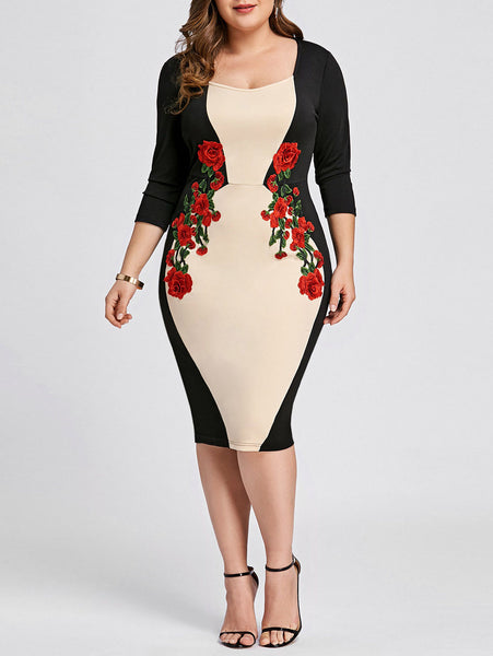 Plus Size XL-5XL Women Dress Color Block Embroidered Bodycon Evening Party Dress