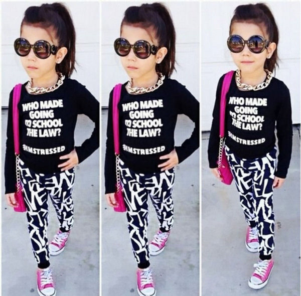 US Stock Fashion Toddler Kids Girls Clothes Set Tops Pants Leggings Outfits