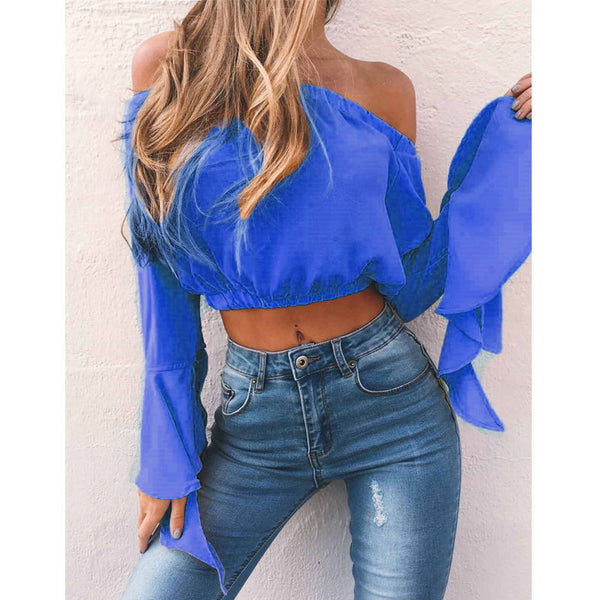 Womens loose Off Shoulder Long Sleeve Ruffled Crop Top Vest T-Shirt Tank Top US