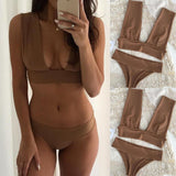 US STOCK Swimwear Fashion WomenHigh-waisted Bikini Set Push-Up Swimsuit Bathing
