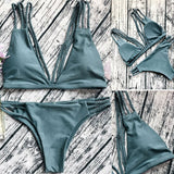 US Swimwear Women Triangle Bikini Set Bandage Push-Up Swimsuit Bathing Beachwear