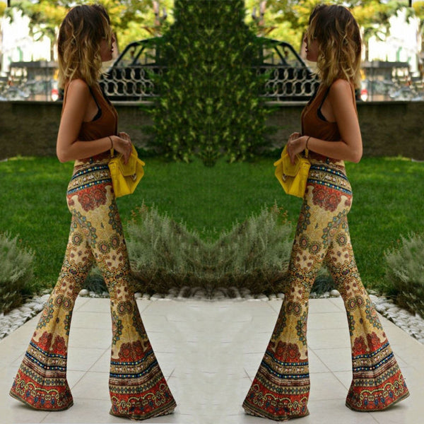 USA Womens Floral Print Bell Bottom Wide Leg Flare Stretch High Waist Boho Pants