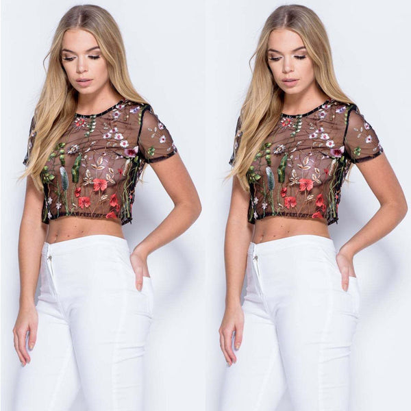 Women Loose Short Sleeve Grenadine Casual Blouse Shirt Tops Short Blouse USA