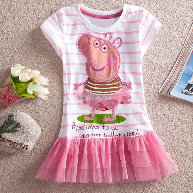 ff53e77fb Lovely BALLET PEPPA PIG Girls Baby Striped Top Dress Pink Tutu Skirt T-Shirt  2T