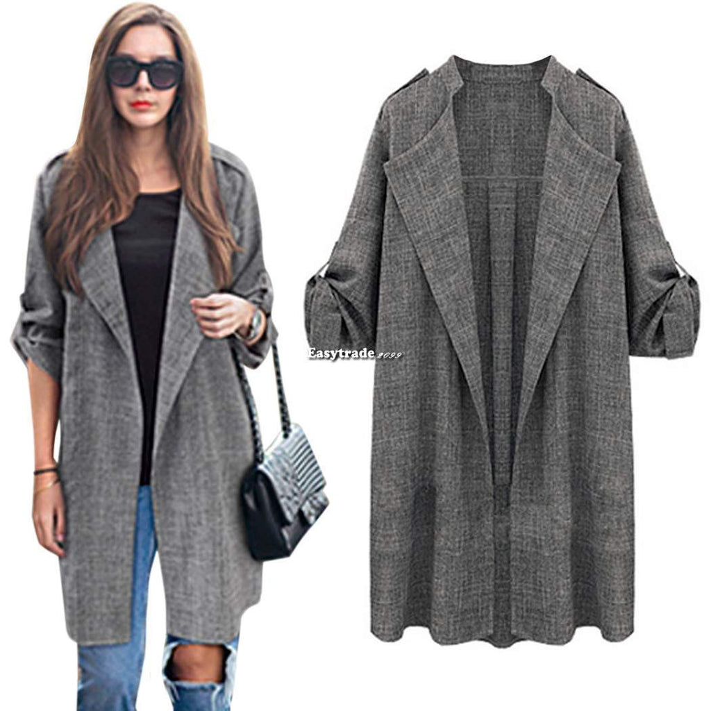 Fashion Women Casual Oversized Long Sleeve Trench Coat Cardigan Jacket Top