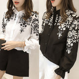 Women Long Lantern Sleeve Blouse Embroidery Floral Shirts Stand Collar T Shirt