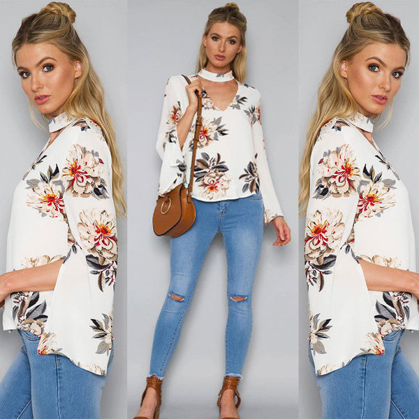 Fashion Women Loose Long Sleeve V Neck Casual Ladies Floral T Shirt Blouse Tops