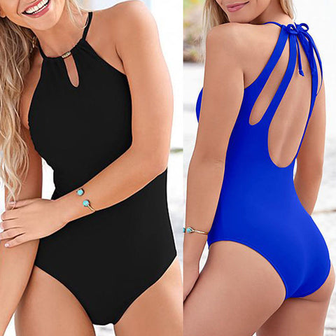 Women Bikini Push Up One-Piece Bathing Swimwear Swimsuit Monokini Black Blue