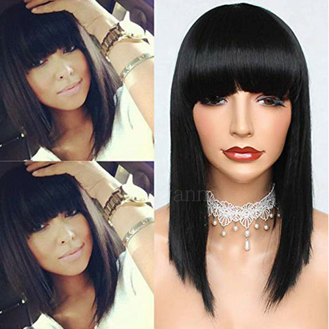 Short Bob Straight Full Bangs Synthetic None Lace Wig Glueless Black Hair Wigs