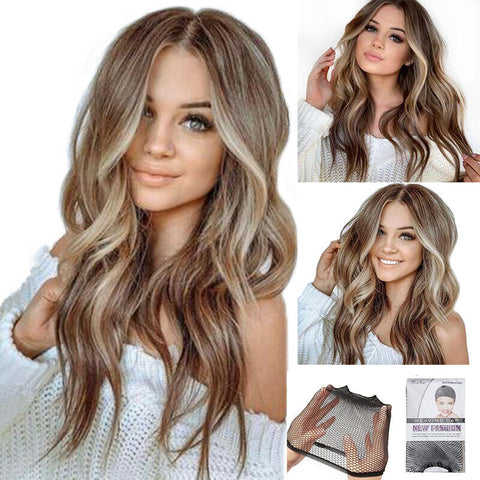 Fashion Women's Long Curly Wigs Brown Gold Blonde Wavy Hair Ombre Party Wig