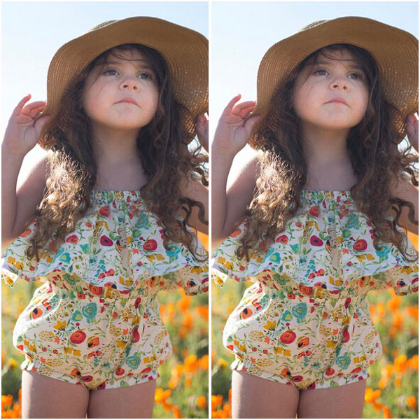 US STOCK Kids Baby Girl Floral Romper Bodysuit Jumpsuit Outfits Sunsuit Clothes