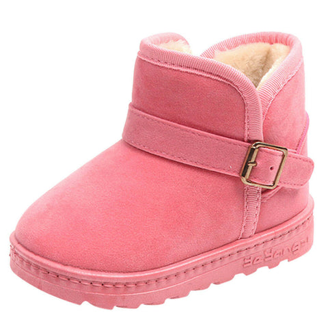 Toddler Children Baby Girls Snow Boots Warm Pink Casual Flock Anti-slip Shoes