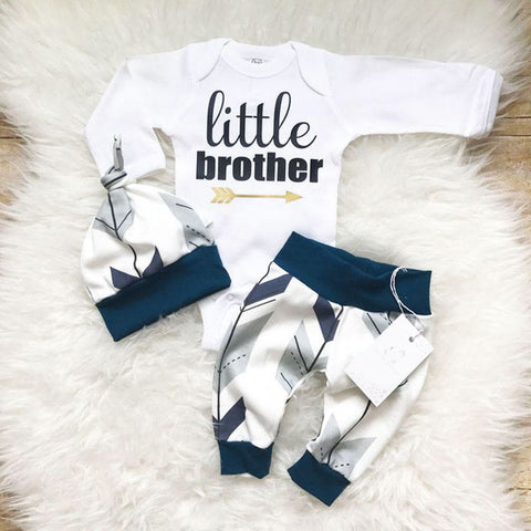 US Stock Newborn Toddler Baby Boys Clothes Romper Bodysuit + Pants Outfits Set