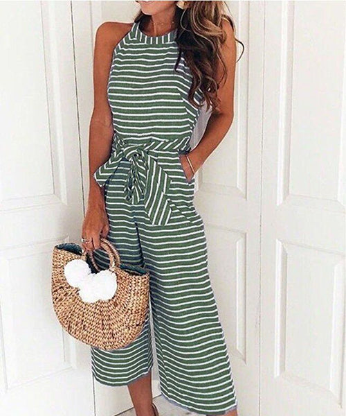 Women Stripe Sleeveless Long Jumpsuit Beach Romper Playsuit Dress Party Clubwear