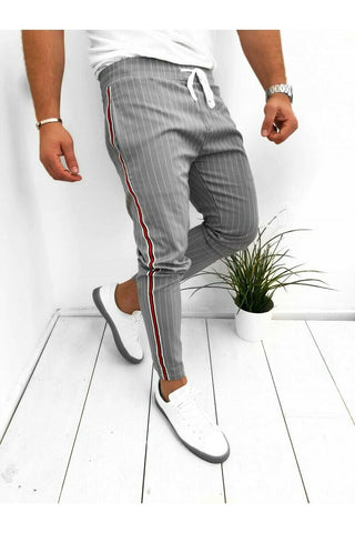 Men Summer Long Pants Slim Fit Running Joggers Stripe Long Trousers Sweatpants