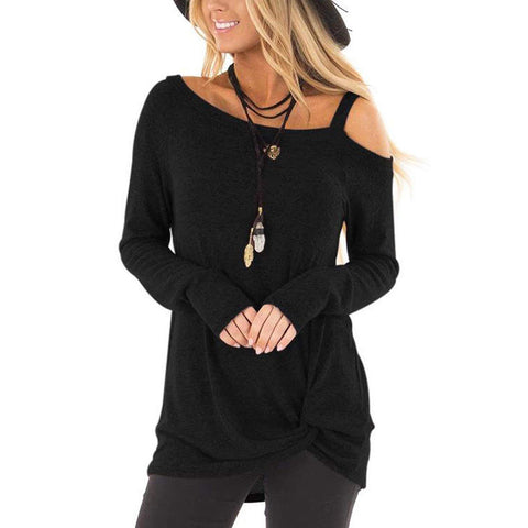 Autumn Women's One Out Shoulder Tops Casual Loose Long Sleeve T Shirt Blouse USA