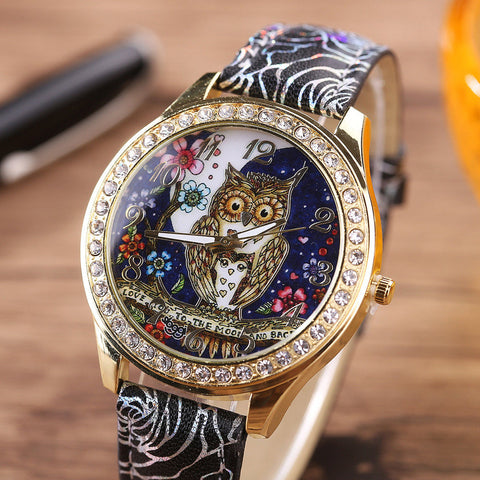 Luxury Women Quartz Stainless Steel Leather Crystal Diamonds Owl Wrist Watch US