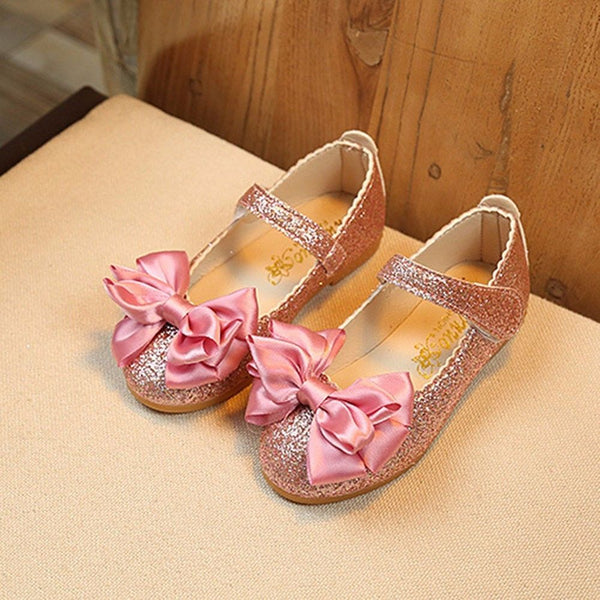 Child Kids Baby Girl Bowknot Party Dress Princess Shoes Shiny Leather Moccasins