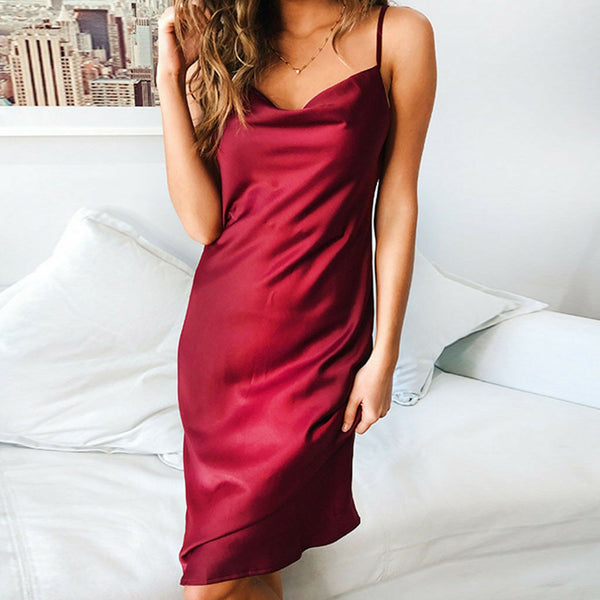 Women Strapless Sleeveless Evening Party Cocktail Backless Dress Nightdress Slip