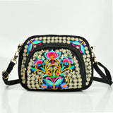 US Women Embroidery Shoulder Bag Satchel Travel Waist Chest Bag Cell Phone Purse