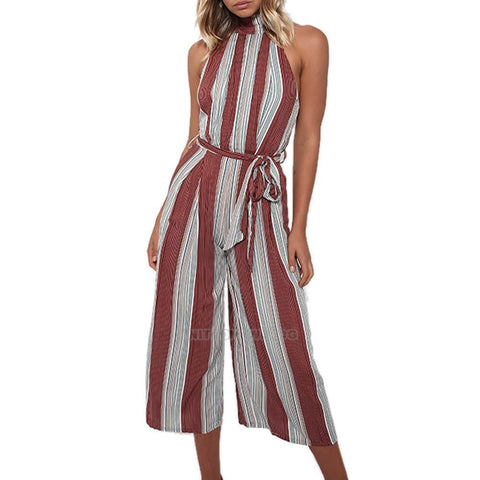 2017 Fashion Women Clubwear Sleeveless Playsuit Striped Jumpsuit Romper Trousers