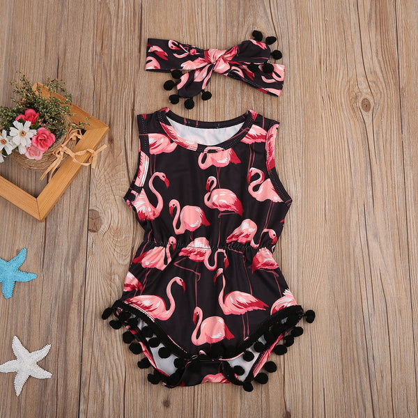 Toddler Baby Kids Girls Flamingo Romper Tassel Jumpsuit Headband Outfits 2PCS US