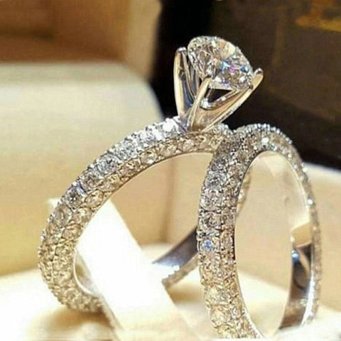 Chic Women White Sapphire Silver Ring Set Wedding Engagement Jewelry Gift Sz5-11