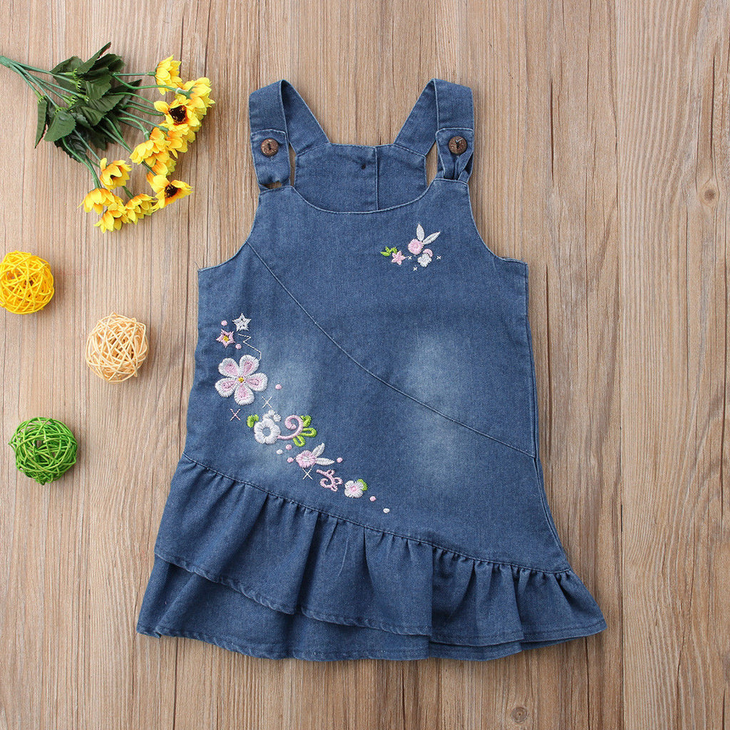 b0d39f7edc4 ... Summer Floral Baby Kids Girl Toddler Denim Jeans Overalls Dress Skirt  Clothes US ...