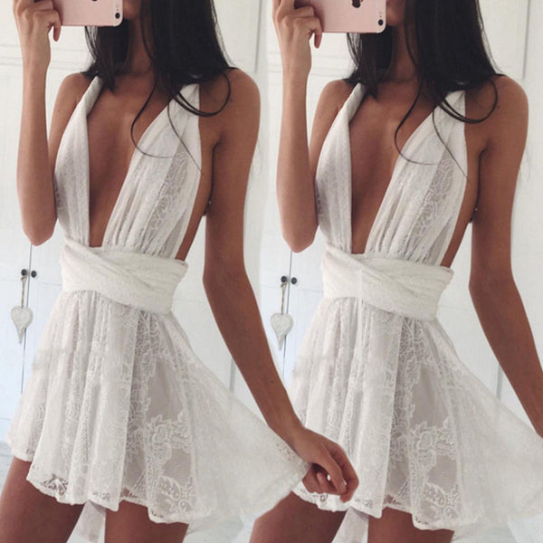 US SELLER Women Summer Lace Sleeveless Party Evening Cocktail Short Mini Dress