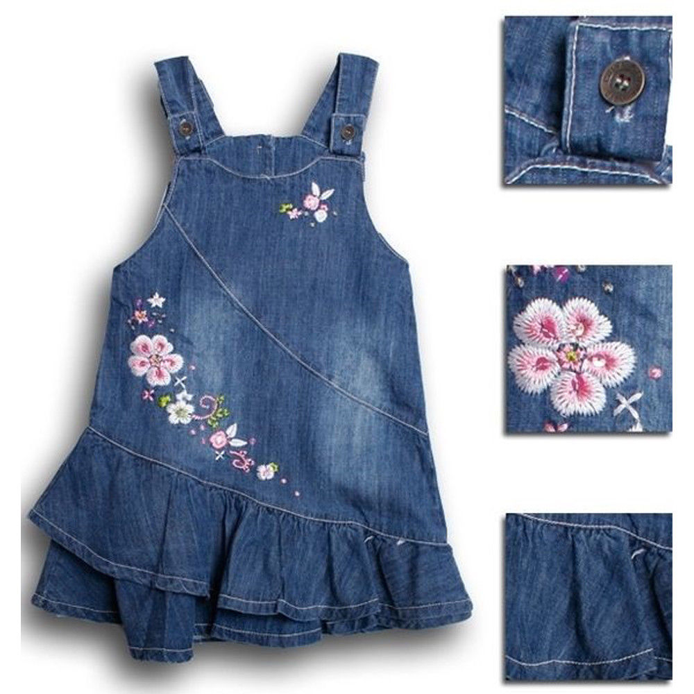 ed137fa185b Summer Floral Baby Kids Girl Toddler Denim Jeans Overalls Dress Skirt  Clothes US