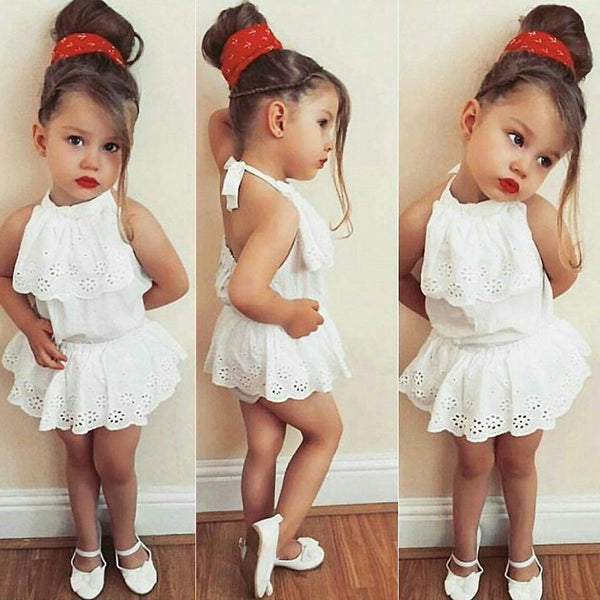 New Kids Baby Girl Clothes Lace Floral Romper Jumpsuit Sunsuit Outfits US Stock