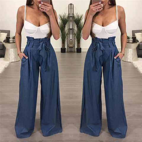 2018 Summer Women Casual High Waist Bandage Striped Wide Leg Long Pants Trousers