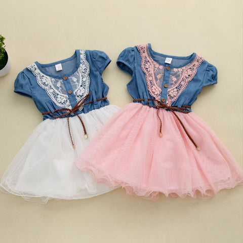 Kids Baby Girls Denim Lace Tulle Dress Vest Tutu Party Wedding Bridesmaid Skirt