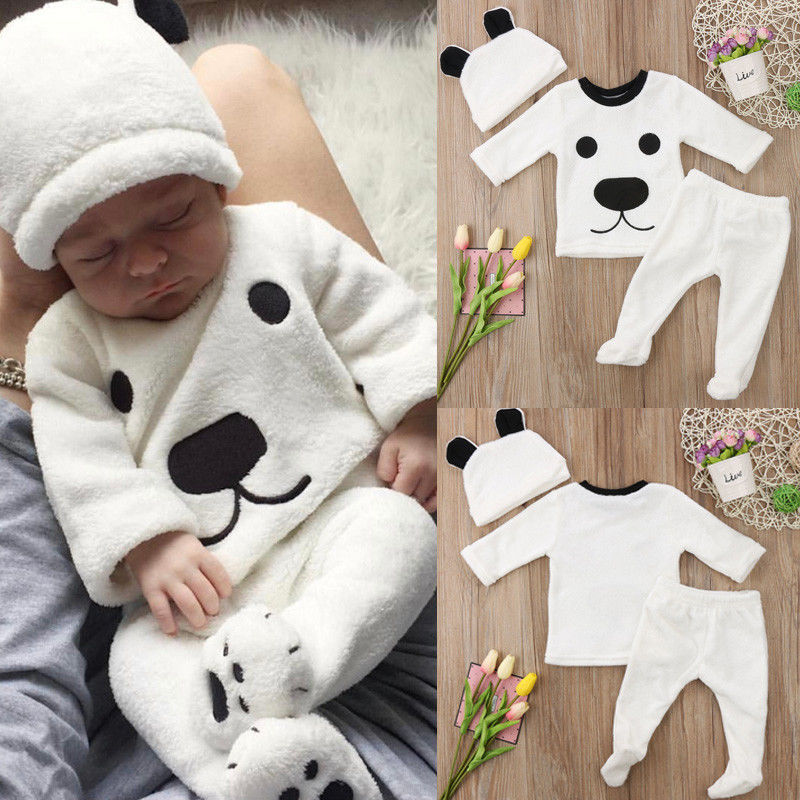 10353ab19 Newborn Baby Girl Boy Long Sleeve Tops Pants Outfits Set Fluffy ...