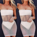 Women Sexy Sheer Dress Fishnet See Through Bodycon Party Cocktail Mini Dress