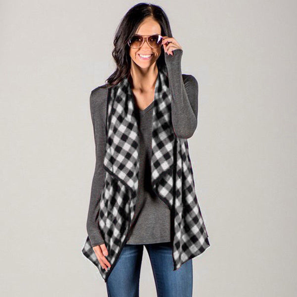 US STOCK Women Sleeveless Plaid Check Waistcoat Vest Jacket Cardigan Blouse Tops
