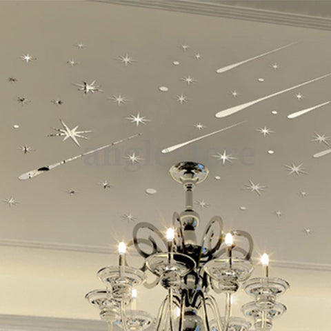 3D Meteor Sky Star Mirror Wall Sticker Home Art Vinyl Mural Decal Ceiling Decor