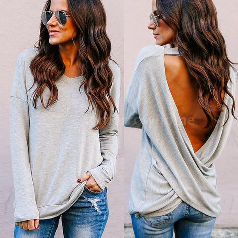 Womens Ladies Summer Backless Tops Long Sleeve Shirt Casual Blouse T-shirt N6N2
