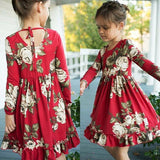 Casual Toddler Kids Girls Floral Long Sleeve Flower Party Dress Dresses Sundress