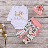 Newborn Kid Baby Girl Floral Clothes Jumpsuit Romper Bodysuit Pants Hat Outfit